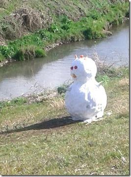 snowman in march closeup